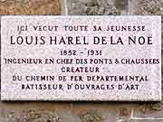 plaque commemorative louis harel de la noe saint-brieuc