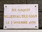 plaque commemorative villiers de isle adam saint-brieuc
